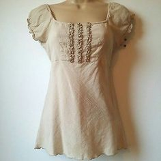 Wet Seal Medium Junior Women Blouse Top Knit Tan Brown Hippie Boho Gypsy A4