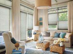 Enhance your decor with these Hunter Douglas Duette Honeycomb Shades. Provide great energy efficiency and come in many fabrics, pleat sizes, colors, and textures!