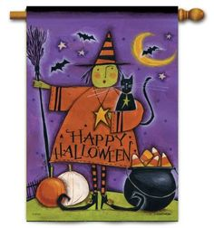 """Halloween Witch House Flag - 2 Sided by Flag Trends. $20.99. Reads correctly from both sides.. Halloween Witch House Flag at our every day low price.. Halloween flag features witch dressed in colorful whimsical attire, funny hat, shoes and broom. Blac. Dimensions: Halloween House Flag Measures 28"""" x 40"""".. New for 2012. Happy Harvest Flag designed by Anne Tavoletti for Flag Trends. The flag features a primitive styled scarecrow in a field of sunflowers and corn. There is a..."""