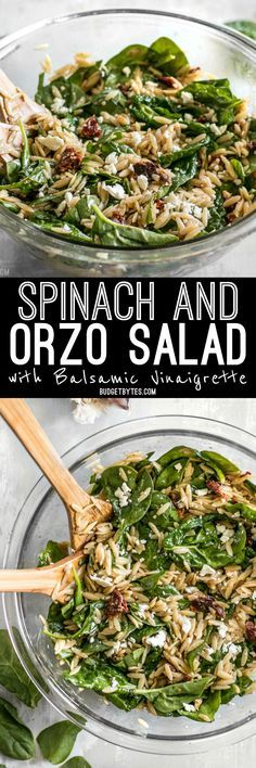 A quick homemade balsamic vinaigrette makes this simple Spinach and Orzo Salad extra special. Serve as a light lunch or a side with dinner. BudgetBytes.com