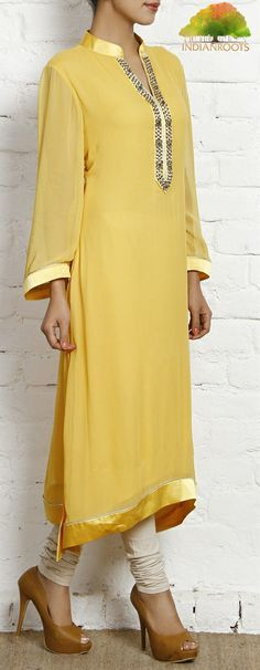 Yellow Hand Embellished Georgette Tunic by IR Studio at Indianroots.com