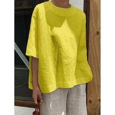 Solid Cotton Linen T-Shirt Causal O-Neck Half Sleeve Shirts Plus Size Women Shirt Simple Summer Tops Half Sleeve Shirts, Half Sleeves, Types Of Sleeves, Long Sleeve Tops, Simple Shirts, Casual T Shirts, Tienda Fashion, Holiday Blouses, Linen Tshirts