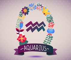 Zodiac sign AQUARIUS, in a sweet floral wreath. Horoscope sign, flowers, leaves and ribbon. vector illustration for a poster design, printing or souvenirs Aquarius Art, Astrology Aquarius, Astrology And Horoscopes, Age Of Aquarius, Zodiac Signs Aquarius, Zodiac Art, Gemini, Horoscope Tattoos, Moon Signs