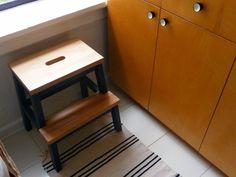 Fixing up a rental apartment kitchen. Bekvam Stool, Ikea Bekvam, Ikea Carpet, Ikea Kitchen Inspiration, Ikea Paint, Open Shelving, Shelves, Ikea Stool, Under The Table