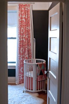 coral patterned drapes (tonic living fabric) with bands of white