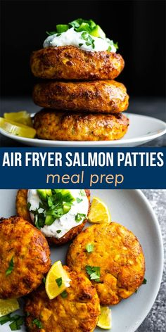 Golden and crispy, these air fryer salmon patties cut down on the oil and deliver big on flavor! Made with canned salmon, they are a great way to cook from your pantry. #sweetpeasandsaffron #mealprep #airfryer