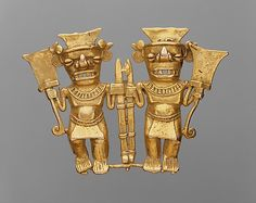 Double Bat-Head Figure Pendant Date: century Geography: Panama Culture: Chiriqui Medium: Gold Dimensions: Overall: 3 in. Ancient Mysteries, Ancient Artifacts, Maya, Costa Rica Art, Colombian Art, Argent Antique, Panama, Mesoamerican, Ancient Beauty