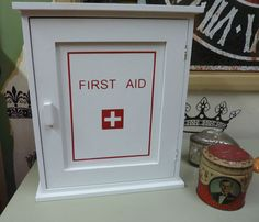 vintage retro shabby style first aid cupboard bathroom kitchen cabinet very chic £30 - replace with a mirror?
