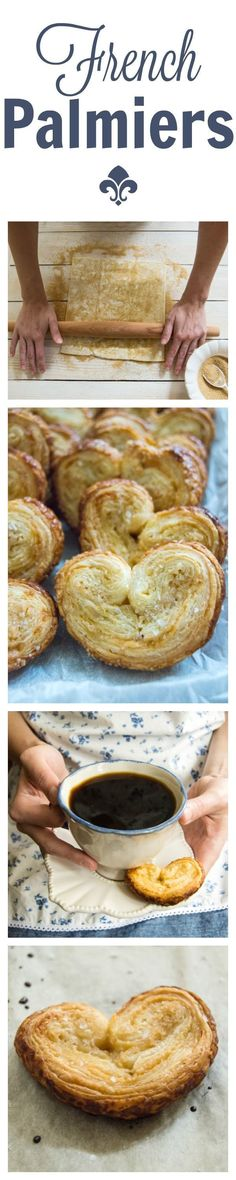 Palmiers, also known as elephant ear cookies, are buttery, flaky, crunchy, and just plain good. You only need puff pastry dough and sugar, but I mix a little sea salt in to balance the sweetness. Despite their good looks, palmiers are actually incredibly