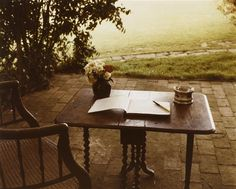 Table of Virginia Woolf, Rodmell, Sussex By Gisèle Freund.