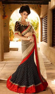 Beige and Black Embroidered Net Bhagalpuri Silk Lehenga Saree Price: Usa Dollar $152, British UK Pound £90, Euro112, Canada CA$165 , Indian Rs8208.