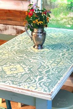 Brittany from Pretty Handy Girl created another gorgeous project -- this time, a Painted stenciled table featuring our Lisboa Tile stencil and Annie Sloan Chalk paint Paint Furniture, Furniture Projects, Furniture Makeover, Furniture Design, Kitchen Furniture, Furniture Stores, How To Decoupage Furniture, Chair Design, Modern Furniture