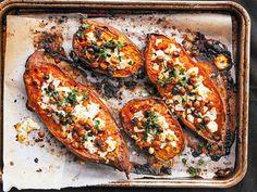 sweet potato recipes Chevre and Chickpea Stuffed Sweet Potato recipe. Simple, healthy, and so satisfyingChevre and Chickpea Stuffed Sweet Potato recipe. Simple, healthy, and so satisfying Sweet Potato Recipes Healthy, Veggie Recipes, Vegetarian Recipes, Dinner Recipes, Cooking Recipes, Healthy Recipes, Dinner Ideas, Healthy Potatoes, Ovo Vegetarian