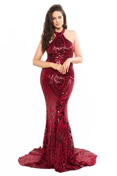 A&N Curve Fabiana - Burgundy Sequin Mermaid Gown with High Neckline Curve Dresses, Plus Size Dresses, Prom Dresses, Formal Dresses, Sequin Gown, Mermaid Gown, Burgundy, Sequins, Gowns