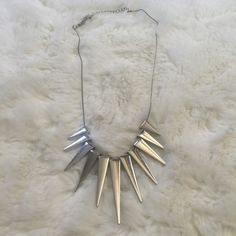Spike Necklace In great condition. Silver plated. Zara Jewelry Necklaces