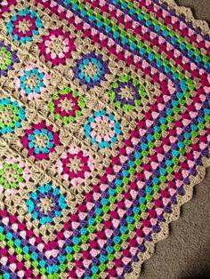 """BabyLove Brand Framed Garden Blanket/Afghan, great color gift baby shower or lapghan - 36"""" square"""