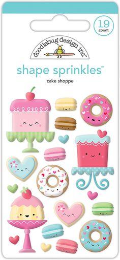 Doodlebug Design - Cream and Sugar Collection - Sprinkles - Self Adhesive Enamel Shapes - Cake Shoppe
