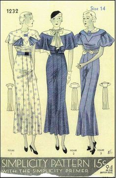 1930s Ladies Dresses In Three Sytles Sewing Pattern - Simplicity #1232
