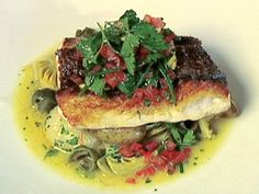 Crisp Red Snapper with Ragout of Potatoes, Onions, Artichokes, and Green Olives with Sauce Vierge recipe from Rachael Ray's Tasty Travels via Food Network