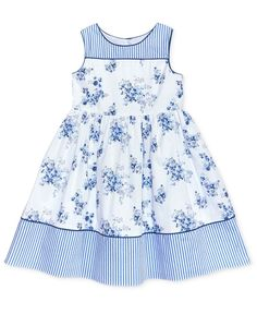 little girl dresses Laura Ashley Stripe Floral Cotton Dress, Toddler amp; Little Girls - Blue Frocks For Girls, Dresses Kids Girl, Little Girl Outfits, Little Girl Fashion, Kids Outfits, Girls Dresses Sewing, Baby Dresses, Fashion Kids, Baby Girl Dress Patterns