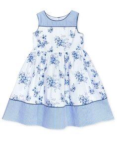 little girl dresses Laura Ashley Stripe Floral Cotton Dress, Toddler amp; Little Girls - Blue Frocks For Girls, Little Girl Outfits, Little Girl Fashion, Little Dresses, Little Girl Dresses, Kids Outfits, Fashion Kids, Girls Dresses, Baby Dresses