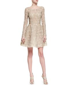 B2WQB Oscar de la Renta Shimmer-Lace Fit-and-Flare Dress, Nude Gold