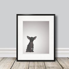 Items similar to Moose the Black Chihuahua - Illustrated Print - 8 x 10 Archival Matte on Etsy Black Chihuahua, Moose, Unique Jewelry, Handmade Gifts, Illustration, Etsy, Vintage, Kid Craft Gifts, Elk