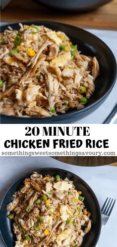 Put your leftover roast chicken to good use and make this delicious Leftover Chicken Fried Rice! This classic Chinese style recipe is very easy delicious and takes just 20 minutes to make. Roasted Chicken Leftover Recipes, Leftover Shredded Chicken Recipe, Leftover Rotisserie Chicken, Shredded Chicken Recipes, Grilled Chicken Recipes, Roasted Chicken Rice Recipe, Keto Chicken, Rice Recipes For Dinner, Easy Rice Recipes