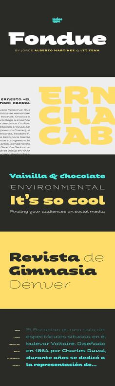 Fondue - Fondue: an eclectic-flavoured contemporary typeface.Designed by Jorge Alberto Martínez and Latino...