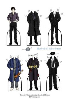 Sherlock paper dolls. Ha the robe and violin one! They need him when he was naked with the white sheet!! ;-)