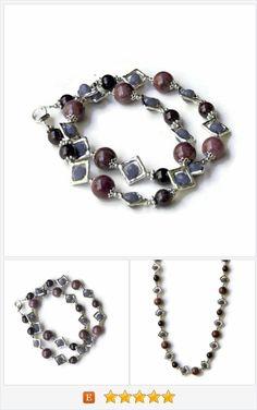 Short Taupe Mauve Semiprecious Stones Necklace, Rhodonite Garnet, OOAK Handmade, Geometrical Art Deco Jewelry, ALFAdesigns https://www.etsy.com/listing/211781708/
