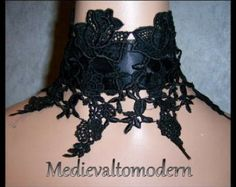 Wide Collar Choker Jet BLACK Lace Satin Victorian Style Gothic 6 1/2 In Wide with Drop Medieval Wearable Art Romantic Evening Costume Dinner