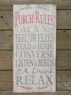 Wooden distressed Porch Rules sign by Maryswoodcrafts on Etsy, $45.00