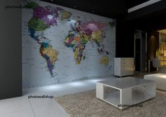 Wall Mural Photo Wallpaper World Map 2.70x1.88m FREE & fast postage, photomural | eBay