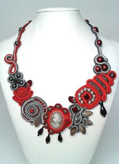 Soutache necklace. Czech glass beads, hematite, mother of pearl, glass pearls, Toho beads.  Www.quibi.ro