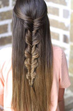 Bubble Fishtail Braid...simple and pretty! {tags: hairstyles, hairstyle, braids, bubblefishtail, braid, fishtail braid, backtoschoolhair, longhair}