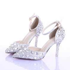 High Heels Two-Pieces Hollow Diamond Bride Shoes