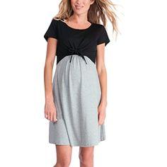 98c450906ce4b Maternity Dress - Women's Mother Splice Bandages Ruched Wrap Pregnants  Nursing Mama Casual Pajamas Dress (