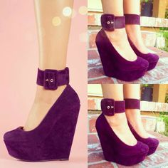 Purple Platform Thick Buckle Strapped Wedges! Have These in Leopard Print! Sexy....