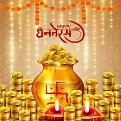 Illustration about Easy to edit vector illustration of decorated Diwali holiday background with Hindi greetings meaning Happy Dhanteras. Illustration of design, ceremony, dhanteras - 129632223 Dhanteras Wishes Images, Happy Dhanteras Wishes, Diwali Wishes, Diwali Status In Hindi, Happy Diwali Status, Kali Puja, Whatsapp Dp