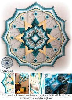 madala 12 puntas, 80 cm de diametro, colores turquesas y amarillos. (mandala tejido - sikuli - ojo de dios) mas info en https://www.facebook.com/paula.panambi