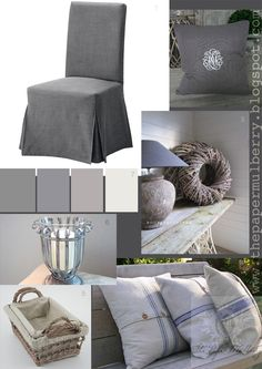 monogramed linen and grain sack cushions, Ikea Henriksdal dining chair, candle sconce and linen lined baskets = The Paper Mulberry: Essentially French!