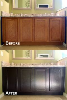 DIY Gel Stain Cabinets No Heavy Sanding Or Stripping Bathrooms