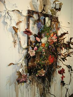 "Valerie Hegarty, Artist, Flower Frenzy (detail), 2012, Canvas, stretcher, acrylic paint, paper, glue, foil, glue, wire, artificial foliage and flowers, sand, thread, 60"" (w) x 91"" (h) x 20"" (d)"