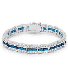Fashioned in luminescent silver tone and three rows of assorted shimmer our Balboa Blue Cubic Zirconia Bracelet lends sassy tones to classic refinement. Mens Silver Necklace, Men Necklace, Silver Jewelry, Blue Sparkles, Bridal Bracelet, Chains For Men, Cuba, Turquoise Bracelet, Vintage Jewelry