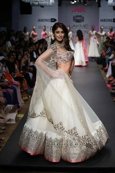 Anushree Reddy Lakme Fashion Week Summer Resort 2014 Ileana DCruz in pink and white net ballroom lehnga. More here: http://www.indianweddingsite.com/anushree-reddy-lakme-fashion-week-summer-resort-2014/