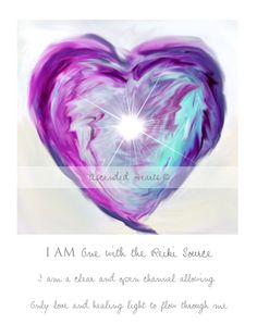 I am one with the source.  I am a clear and open channel allowing only love and healing light to flow through me.