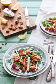 Gluten free Smoked Salmon, Fennel, Grape, Blue Cheese and Pecan Salad