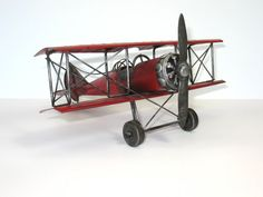 Airplane Toy Plane Red Bi Plane German Red Baron Handmade Cross Metal Collectibles FindingMaineVintage