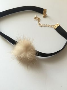 "Annie Pom Pom Velvet Choker Choker Necklace 14"" approx + Extension"